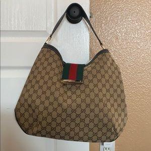 Authentic Gucci Canvas Hobo Handbag
